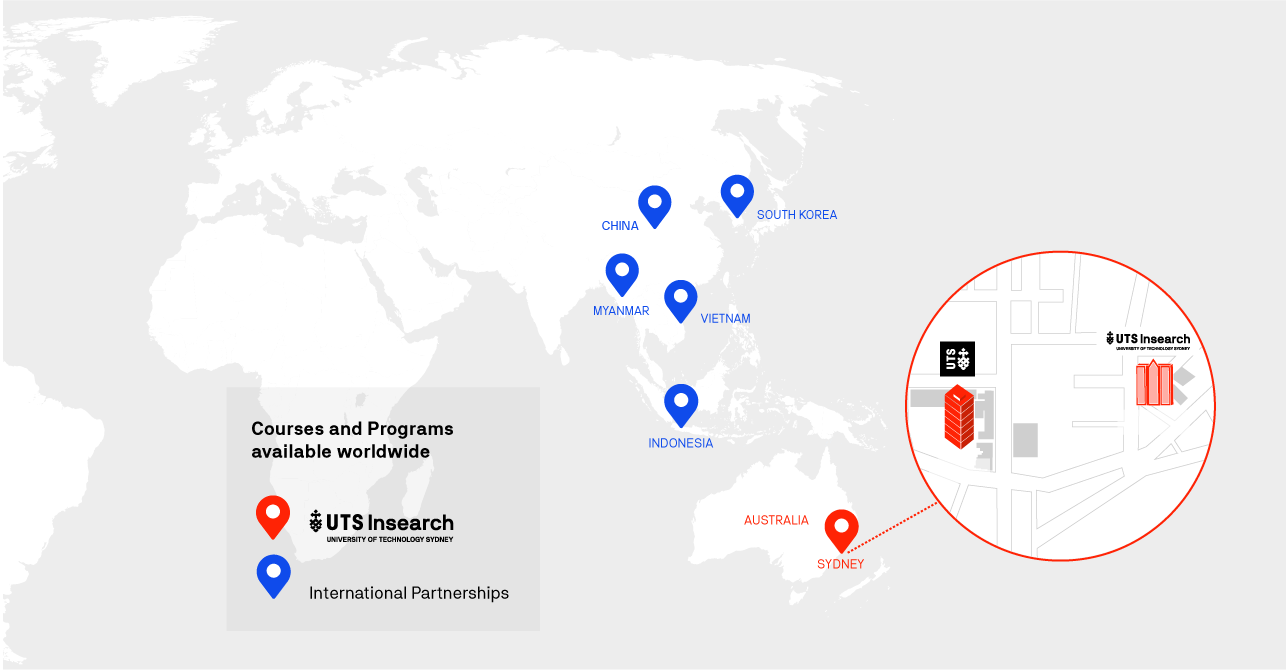 Map showing Courses and Programs offered globally
